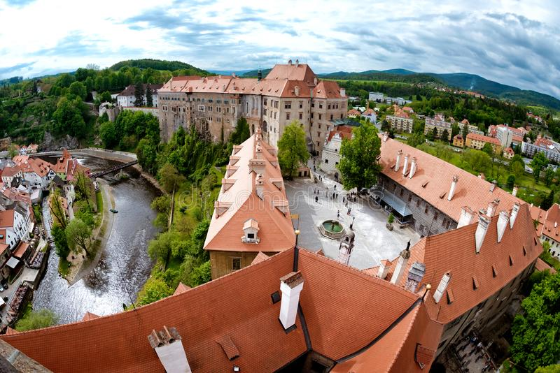 Aerial panorama of Cesky Krumlov Castle courtyard. South Bohemia royalty free stock image