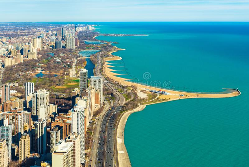 Aerial panorama of Chicago and Lake Michigan. North Avenue beach, USA. Aerial panorama of Chicago and Lake Michigan. North Avenue beach. Illinois, USA royalty free stock photos