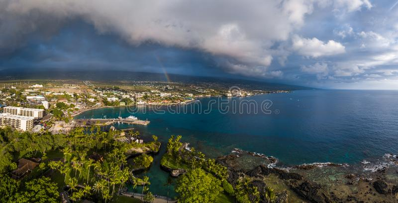 Aerial panorama of the city of Kailua Kona. With rainbow in the sky. Big Island, Hawaii stock photo
