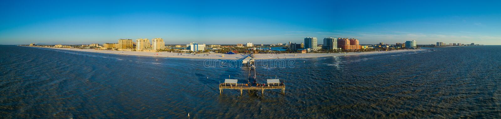 Aerial panorama Clearwater Beach Pier Florida. Drone panorama Clearwater Beach Florida stitched image blue water coastline stock image