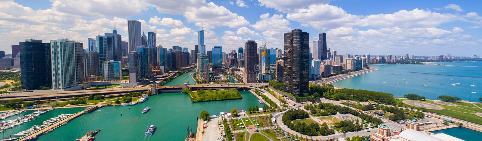 Aerial panorama Downtown Dhicago summer 2017 stock photography