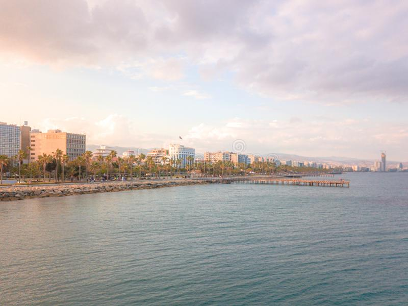 Aerial panorama of downtown promenade in Limassol Lemesos, Cyprus.  stock photography