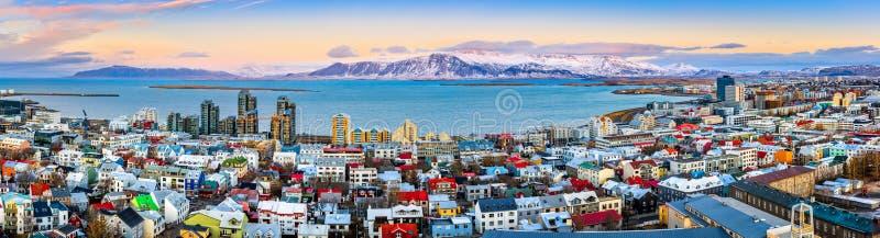 Aerial panorama of downtown Reykjavik royalty free stock image