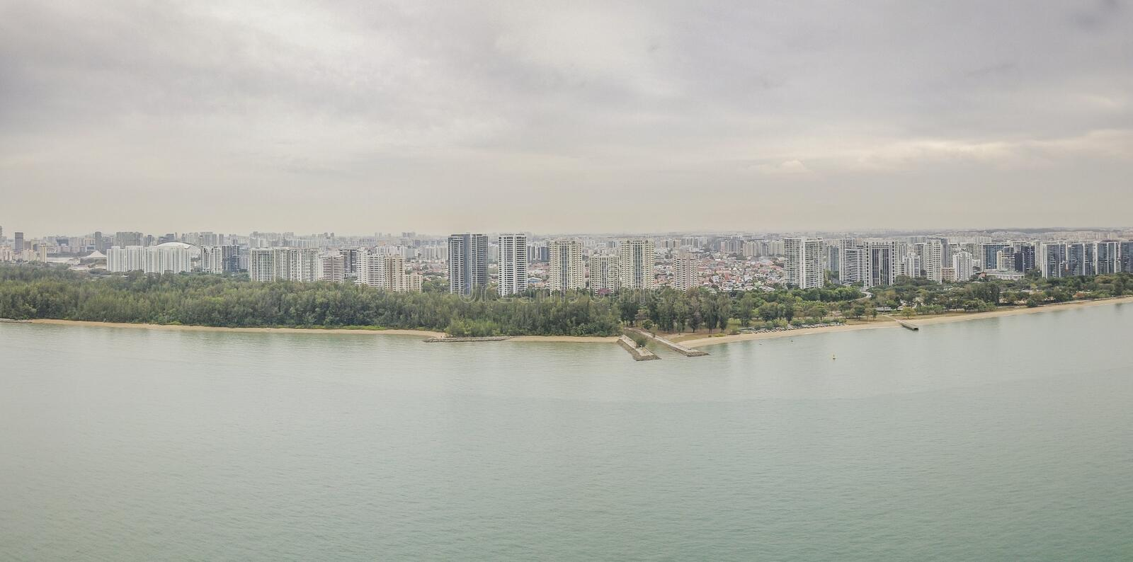 Aerial Panorama of East Coast Area, Singapore. Aerial panorama of East Coast Park and Marine Parade area, in Singapore stock image