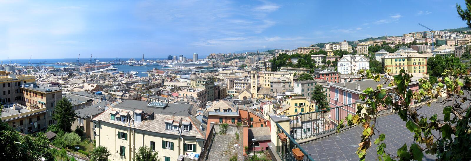 Aerial panorama of Genoa, Italy. Wide composite aerial panorama of old town and skyline of Genoa, Italy royalty free stock image