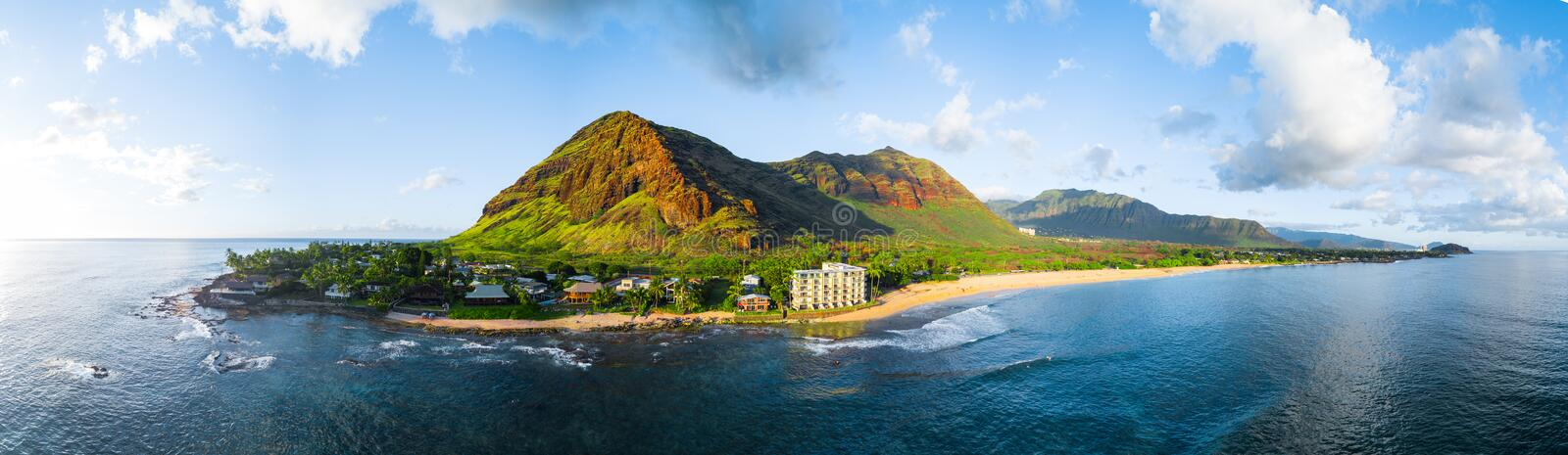 Aerial panorama of the island stock photography