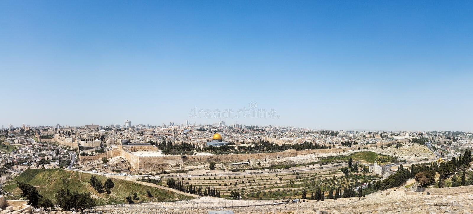 Aerial panorama of the Jerusalem Old City royalty free stock photos