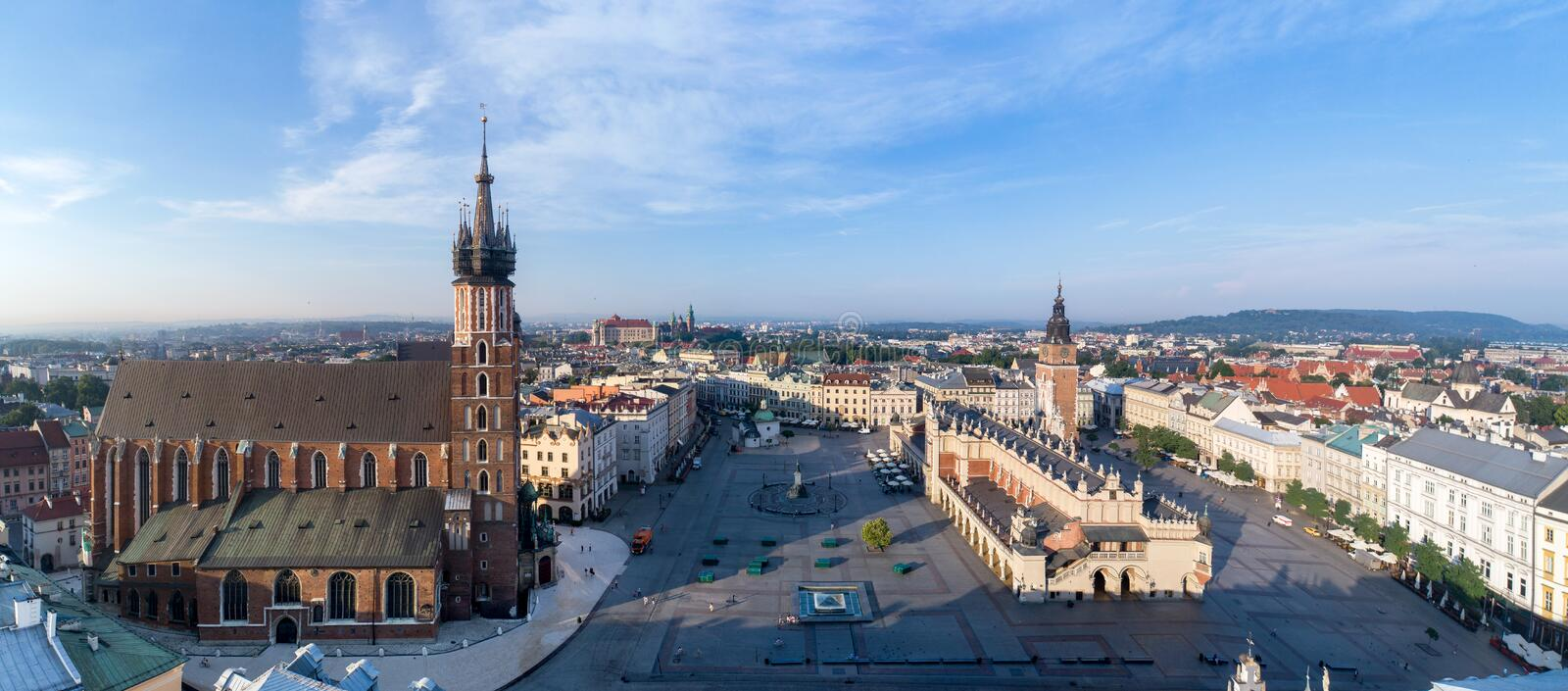 Krakow, Poland. Old city wide panorama with all main monuments royalty free stock images