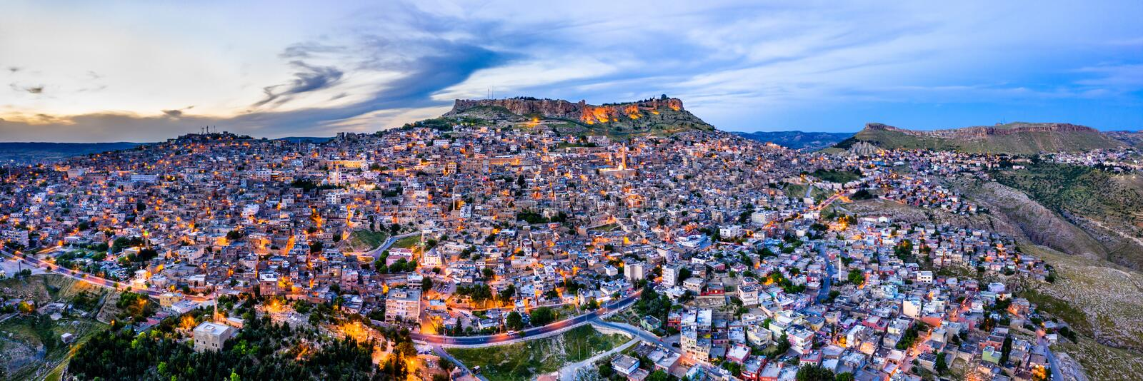 The old city of Mardin at sunset, Turkey stock photography