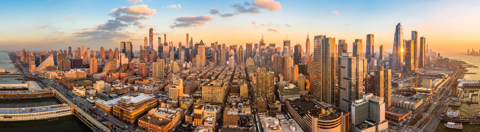 Aerial panoramaof New York skyline stock photography