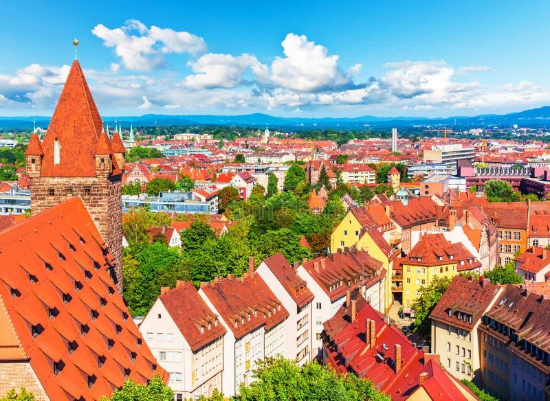 Aerial panorama of Nuremberg, Germany stock photography