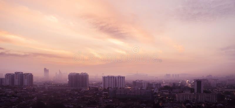 Aerial panorama at orange sunrise of Petaling Jaya, suburb of Kuala Lumpur, Malaysia stock images