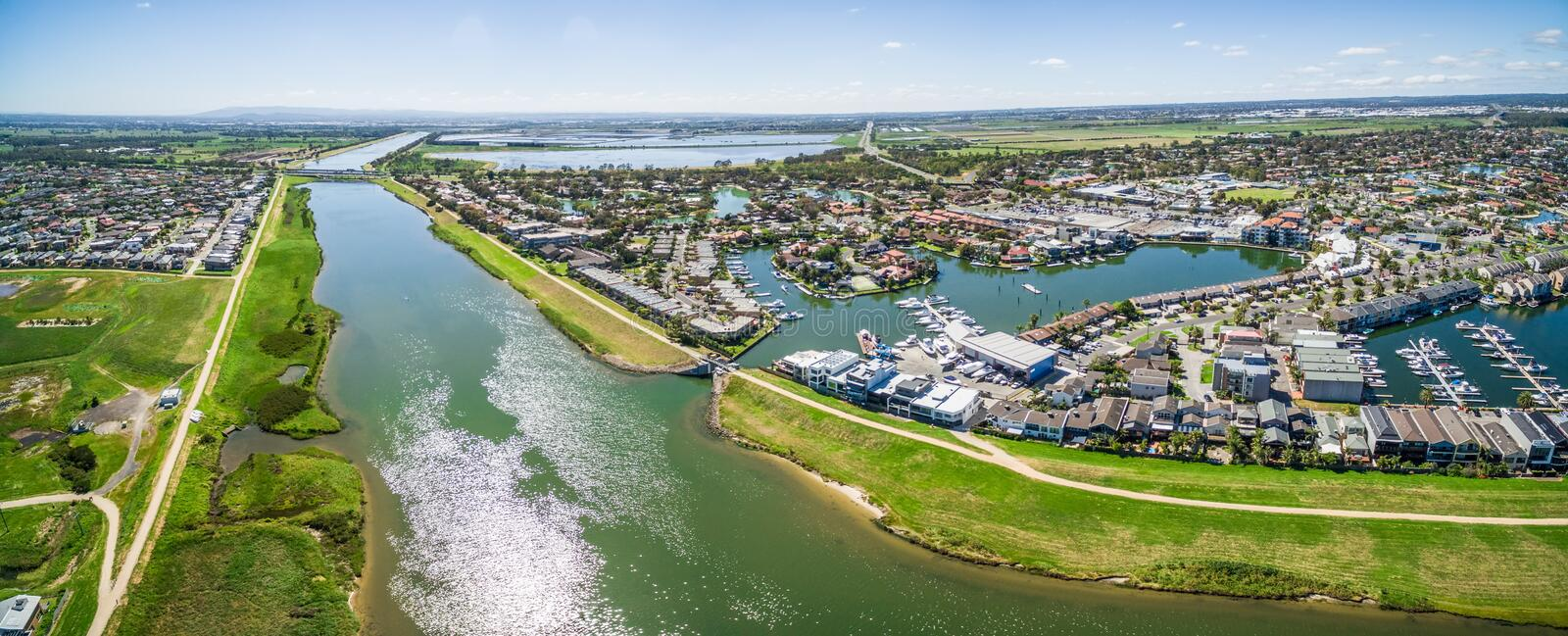 Aerial panorama of Patterson Lakes suburb and river, Melbourne,. Aerial panorama of Patterson River and Patterson Lakes suburb on bright sunny day. Melbourne stock images