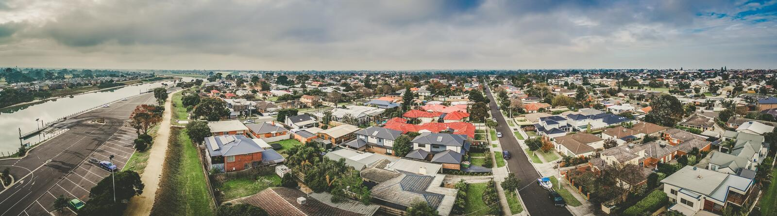 Aerial panorama of Patterson River and urban area. Carrum, Melbourne, Australia stock photo
