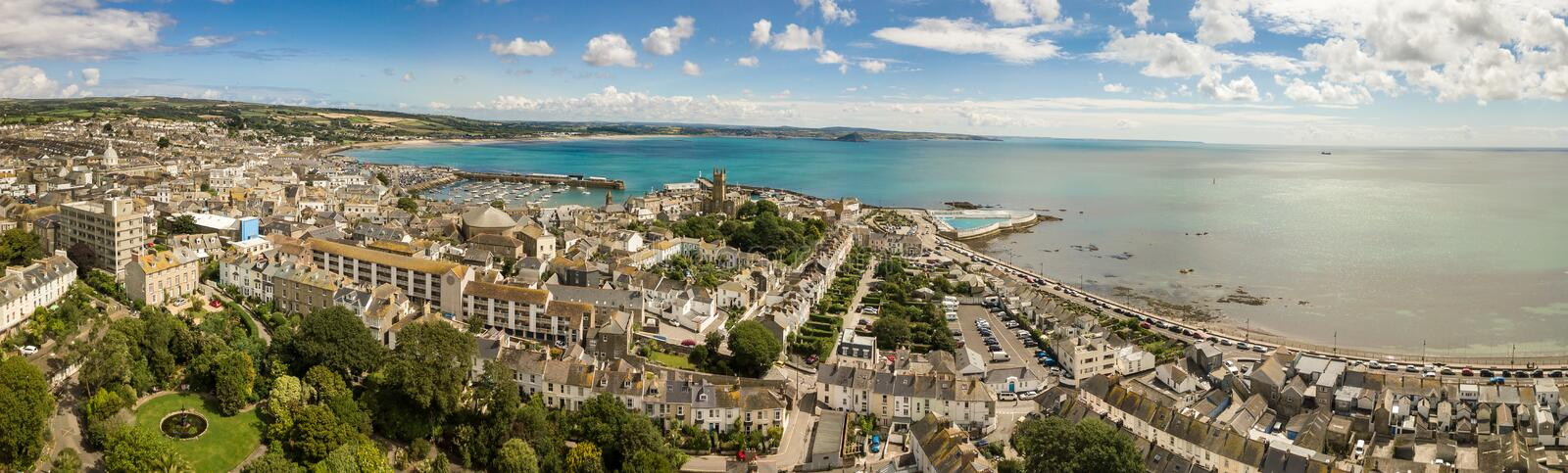 Aerial panorama of Penzance royalty free stock images