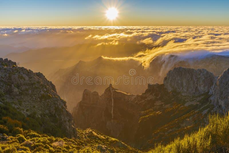 Aerial panorama of Pico do Arieiro mountain stock photo