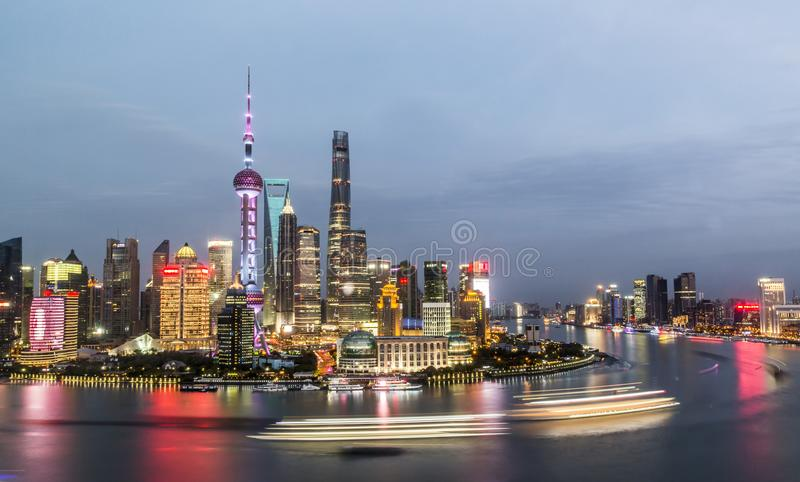 Aerial panorama of Pudong district at night, Shanghai royalty free stock photo