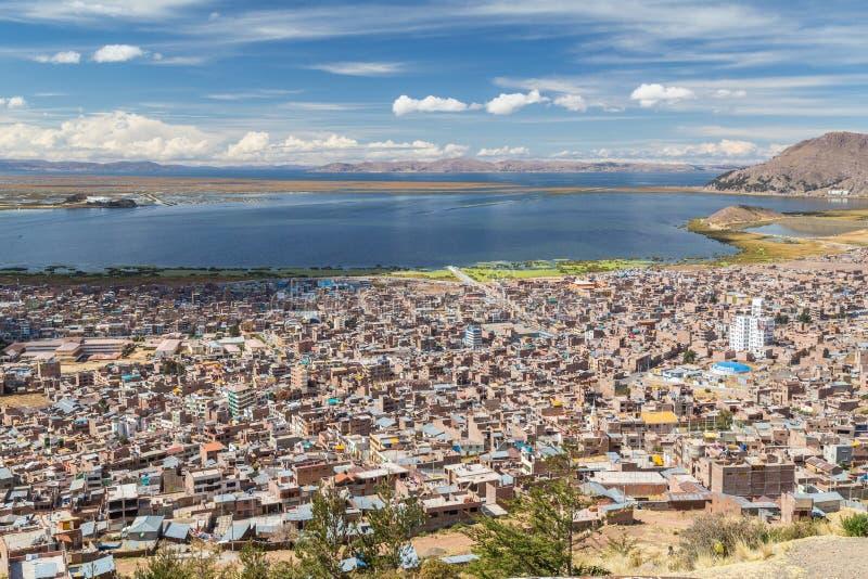 Aerial Panorama of Puno and Lake Titicaca from Mirador El Condor, Peru royalty free stock images