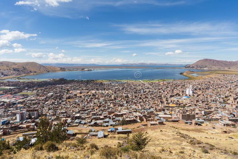 Aerial Panorama of Puno and Lake Titicaca from Mirador El Condor, Peru stock photo