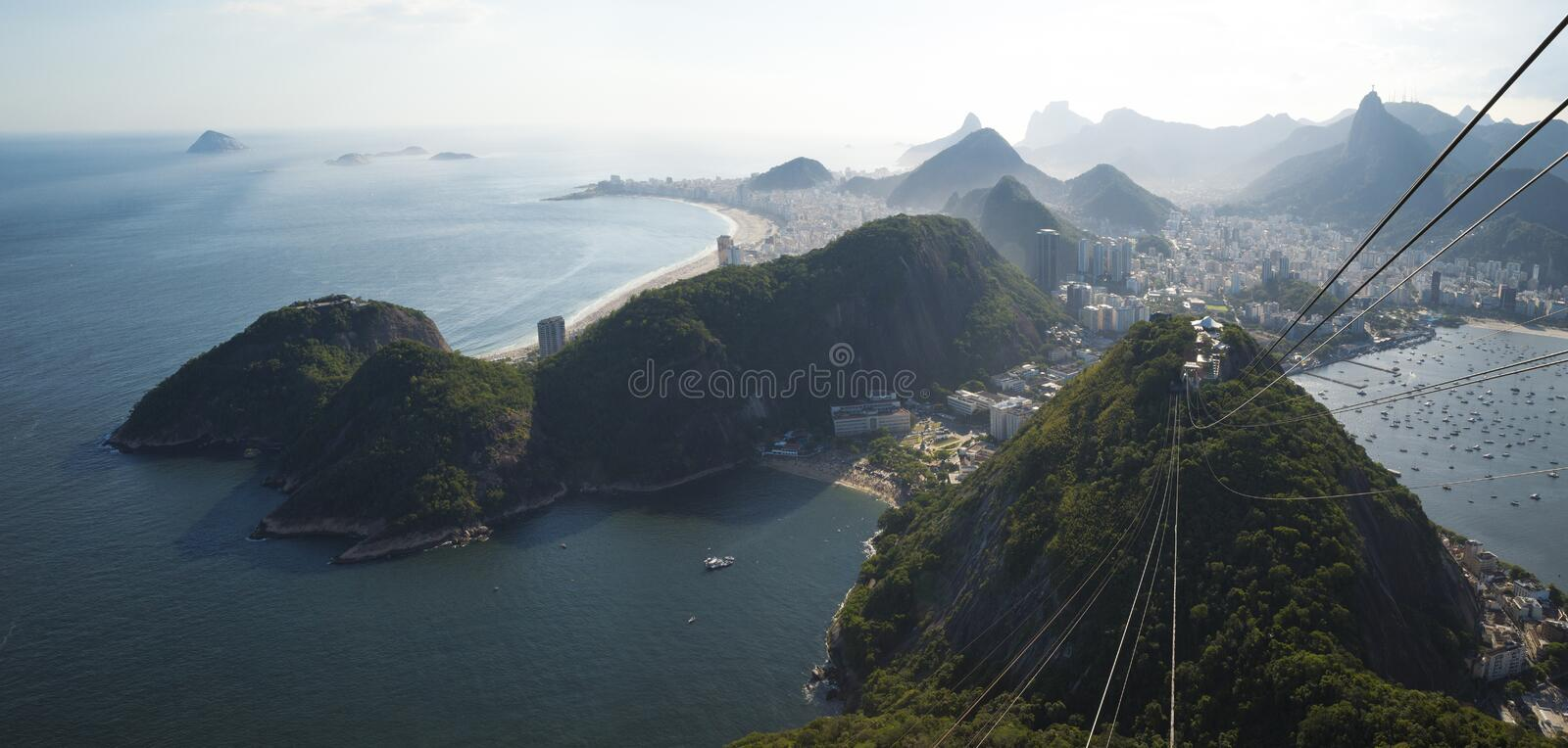 Aerial panorama of Rio de Janeiro from Sugarloaf mountain, Brazil royalty free stock photos