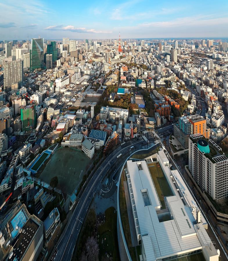 Aerial panorama from Roppongi over Downtown Tokyo, with landmark Tokyo Tower royalty free stock images