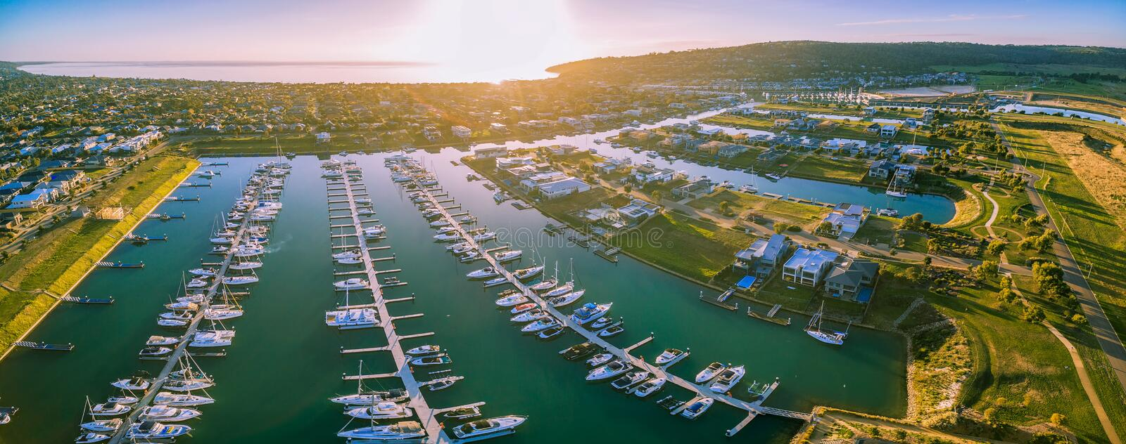 Aerial panorama of Safety beach suburb and marina with Port Phil. Lip Bay as background. Melbourne Victoria, Australia stock photos