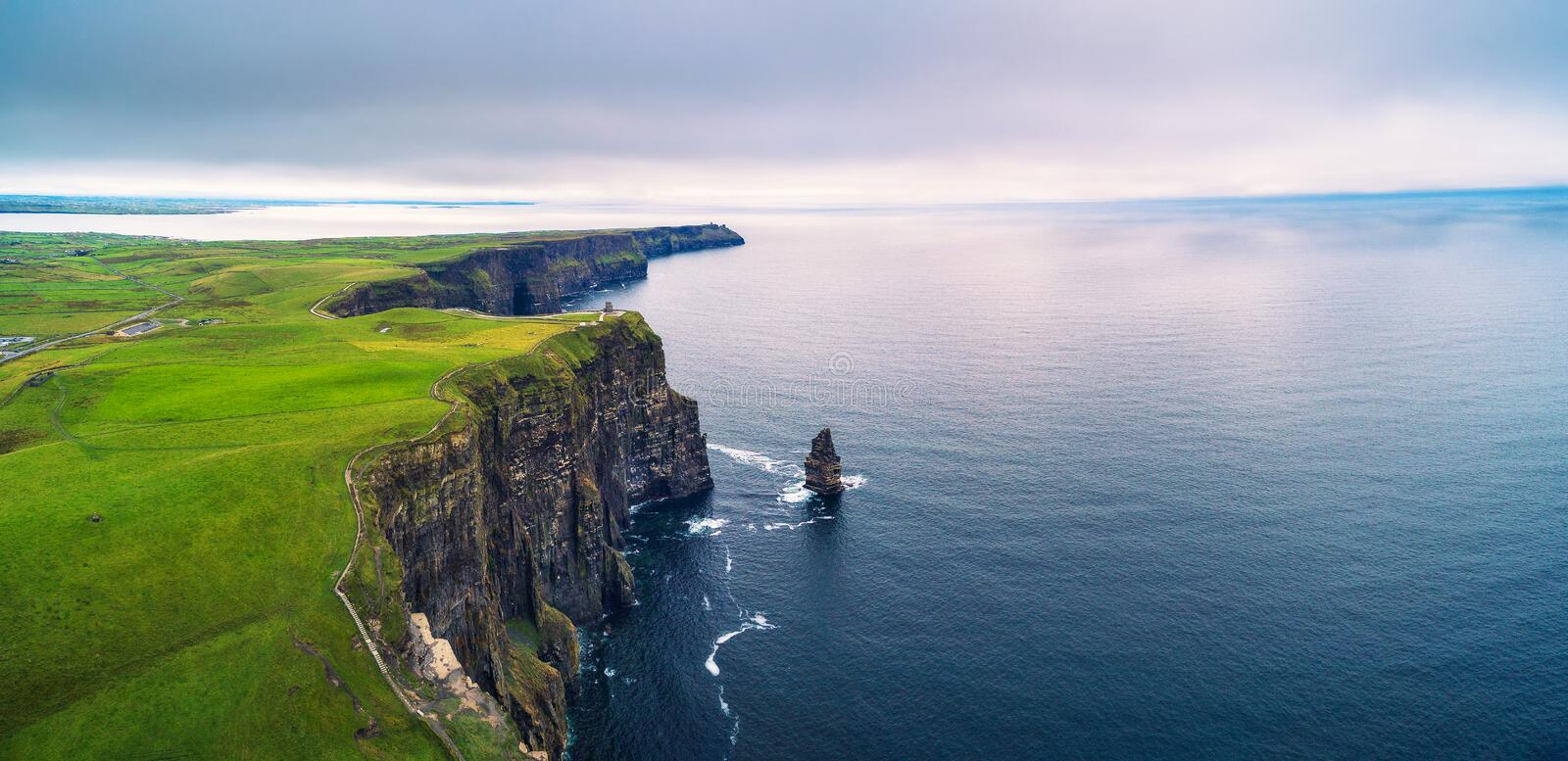Aerial panorama of the scenic Cliffs of Moher in Ireland royalty free stock photos
