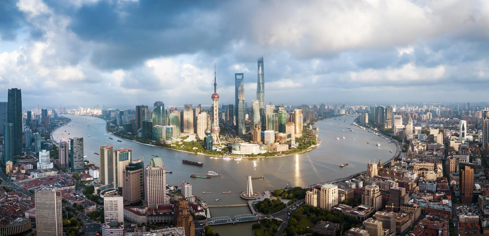 Aerial panorama of Shanghai downtown skyline in China. Aerial panorama of Shanghai downtown skyline in south east China, drone, building, oriental, tall stock photos