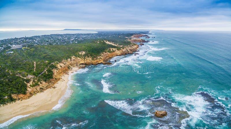 Aerial panorama of Sorrento Back Beach and coastline. Mornington Peninsula, Melbourne, Australia. Aerial panorama of Sorrento Back Beach and coastline stock photography