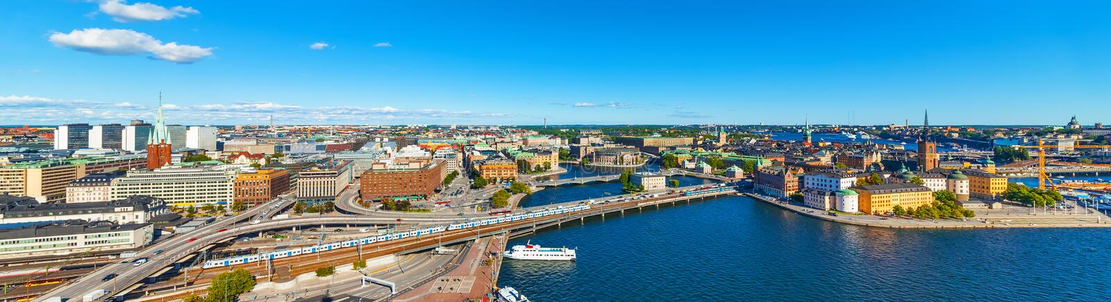 Aerial panorama of Stockholm, Sweden. Scenic wide summer aerial panorama of the Old Town (Gamla Stan) in Stockholm, Sweden stock photo