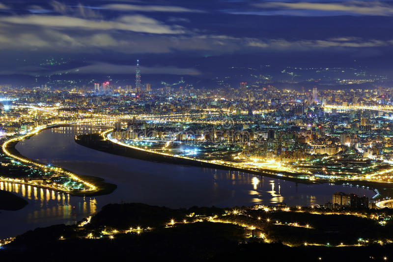 Aerial panorama of Taipei City in a blue gloomy night stock images