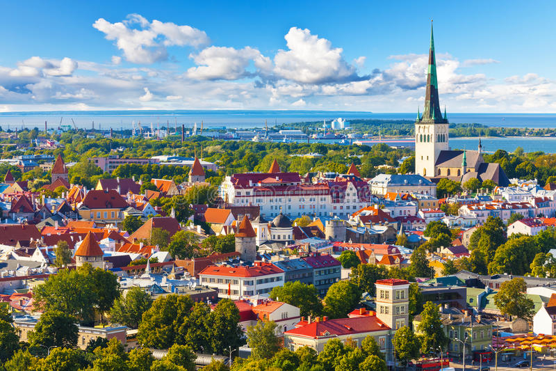 Aerial panorama of Tallinn, Estonia. Scenic summer aerial panorama of the Old Town in Tallinn, Estonia stock photography