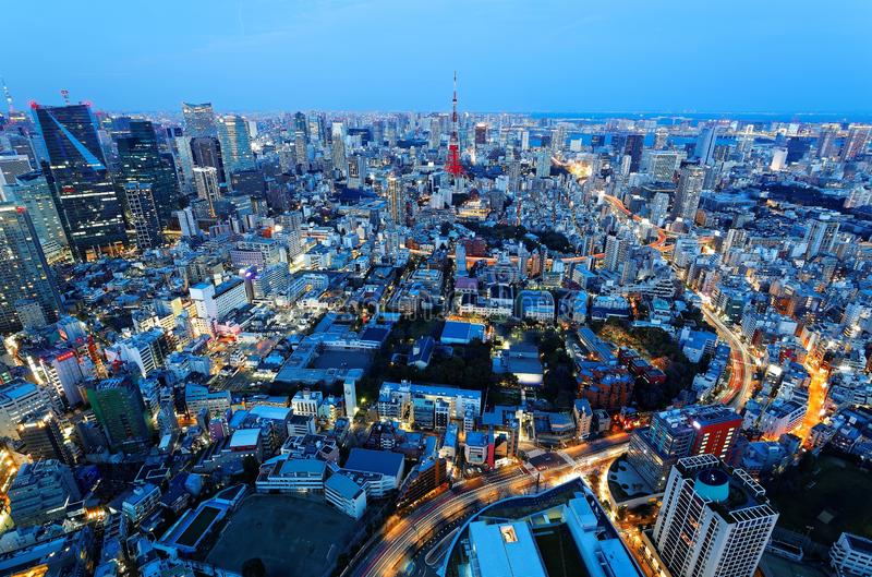 Aerial panorama of Tokyo Downtown at blue dusk, with view of illuminated Tokyo Tower among crowded buildings royalty free stock photos
