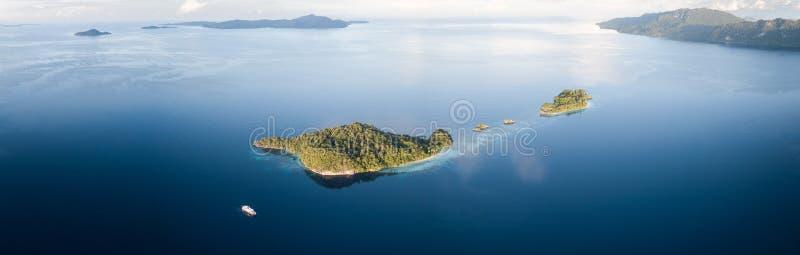 Aerial Panorama of Tropical Islands in Raja Ampat royalty free stock photos