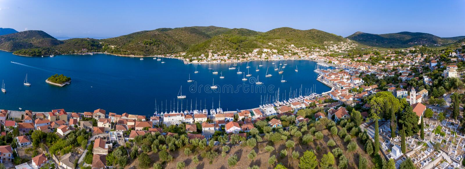 Aerial panorama of Vathy Ithaca Island in Greece. Ithaca or Ithaka is a Greek island located in the Ionian Sea, off the northeast coast of Kefalonia and to the stock photos