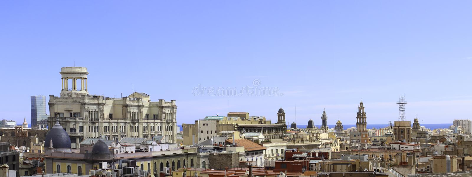Aerial view on Barcelona royalty free stock images