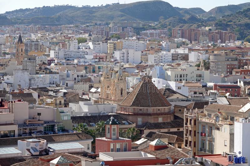 City of Malaga from roof of the Cathedral in Andalusia, Spain. Aerial panorama view of the city of Malaga from the roof of the Malaga Cathedral in Southern Spain royalty free stock photo