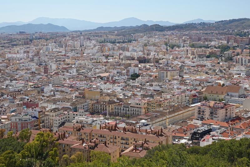 City of Malaga from Cathedral in Andalusia, Spain. Aerial panorama view of the city of Malaga from the roof of the Malaga Cathedral in Southern Spain stock photo