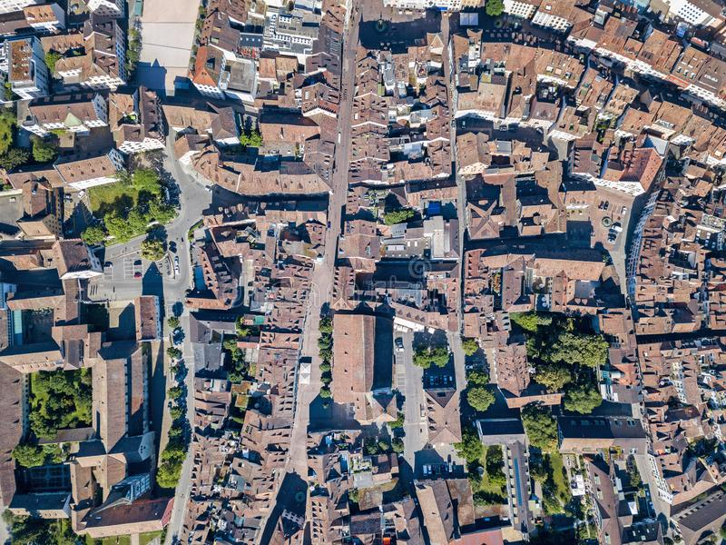 Aerial panorama view of the old Swiss town Schaffhausen royalty free stock image