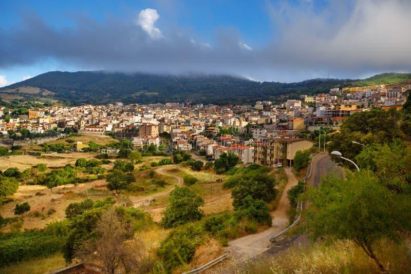 Aerial panorama view of Orgosolo, Sardinia, Italy royalty free stock image
