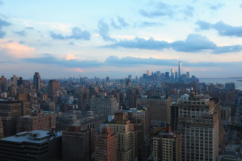 Aerial and panorama view of skyscrapers of New York City, Manhattan. view of night midtown of Manhattan. Aerial and panorama view of skyscrapers of New York City royalty free stock images