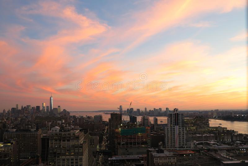 Aerial and panorama view of skyscrapers of New York City, Manhattan. Top view of night midtown of Manhattan. USA royalty free stock photography
