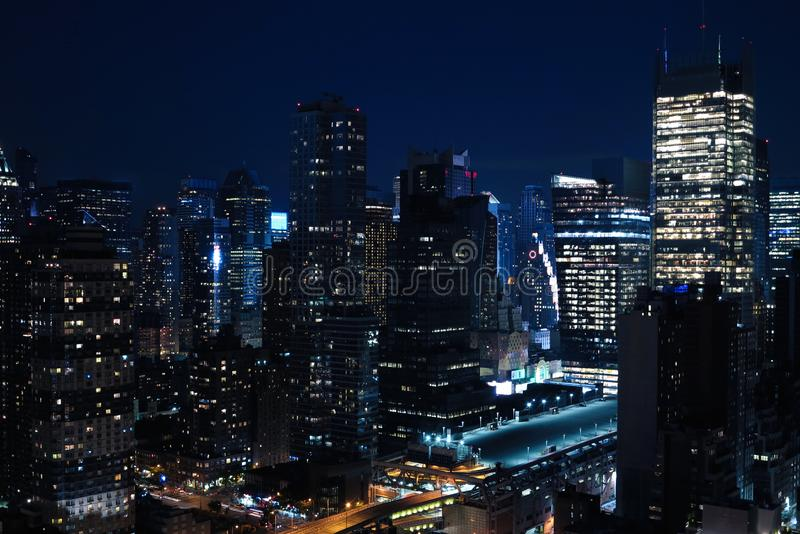 Aerial and panorama view of skyscrapers of New York City, Manhattan. Top view of night midtown of Manhattan. USA stock photo