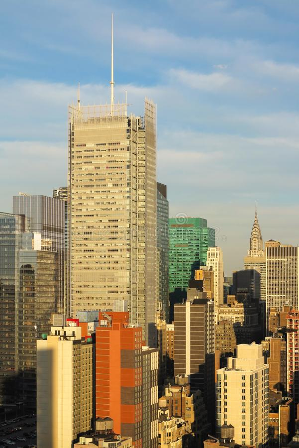 Aerial and panorama view of skyscrapers of New York City, Manhattan. Top view of night midtown of Manhattan. USA royalty free stock image
