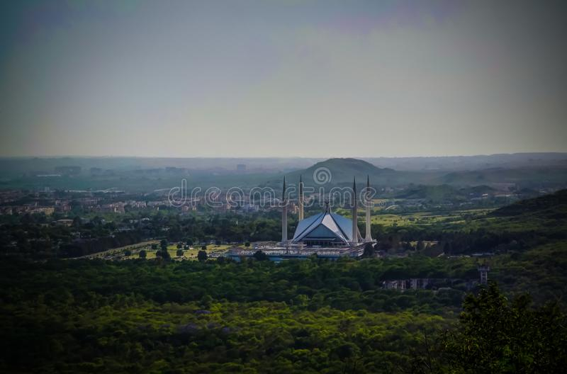 Aerial panorama view to Faisal Mosque in Islamabad, capital of Pakistan royalty free stock photos