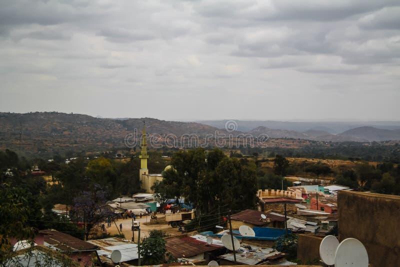 Aerial panorama view to old Harar city aka jugol Ethiopia royalty free stock photos