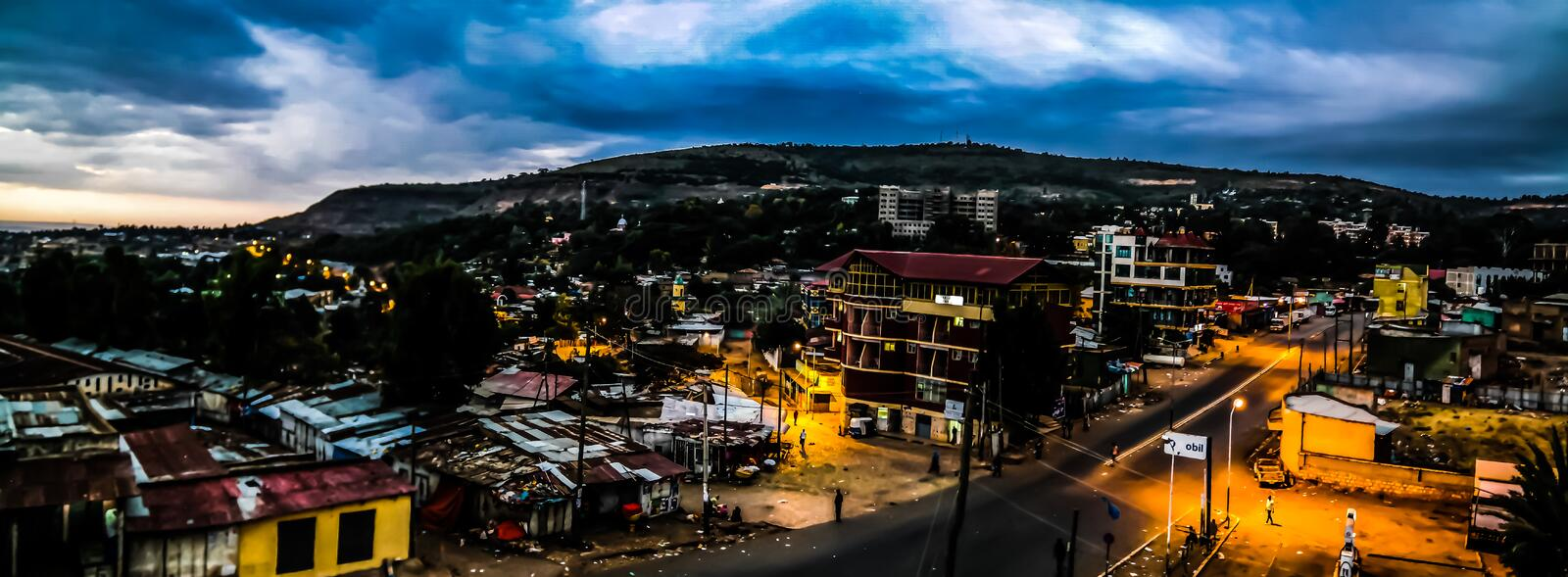 Aerial panorama view to old Harar city aka jugol at sunrise Ethiopia royalty free stock image