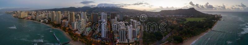 Aerial panorama Waikiki Beach and Diamond Head royalty free stock photos