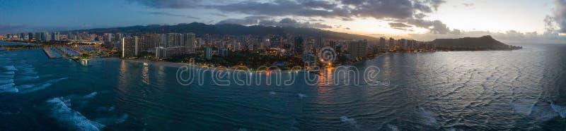 Aerial panorama Waikiki Beach and Diamond Head stock photography