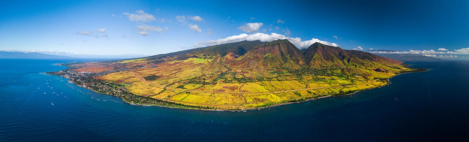 Aerial panorama of the west coast of Maui stock image